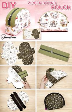 I made ZIPPER ROUND POUCH BAG today. Patchwork Bags, Quilted Bag, Diy Bags Patterns, Duffle Bag Patterns, Purse Patterns, Sewing Patterns, Diy Bags Purses, Pouch Tutorial, Handbag Tutorial