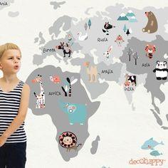 Vinilo infantil Mapamundi Animal neutro Pediatrics, Classroom Decor, Future Baby, Little Boys, Kids Bedroom, Baby Room, New Baby Products, Baby Kids, Clip Art