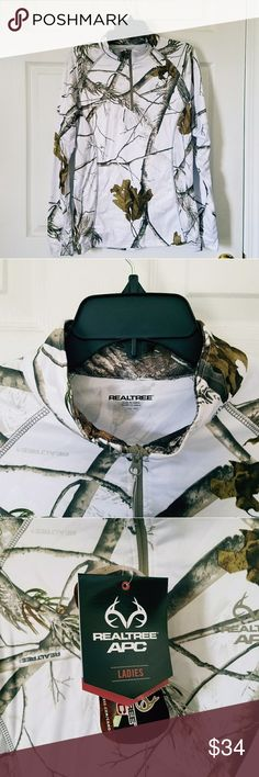 REALTREE APC Snow Camo Pullover Jacket L Snow camo pullover.  Size Large (42/44)   +New with tag +Open to offers +300+ item closet to shop  +No trades Realtree Tops Sweatshirts & Hoodies