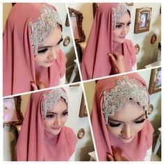 #muslimwedding #dustypink #crystal http://weddinghijab.blogspot.com/2015/02/shawl-ratu-dusty-pink.html