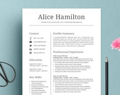 Resume Template  Cv Template For Word Cover Letter Two Page