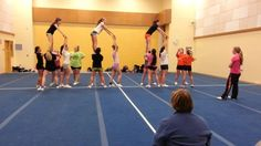 But in a ripple from the front to the back. (With 4 groups & extra catching group) But in a ripple from the front to the back. (With 4 groups & extra catching group) Cheer Dance Routines, Cheer Moves, Cheer Workouts, Cheer Practice, Cheerleading Videos, School Cheerleading, Cheer Camp, Cheer Coaches, Team Cheer