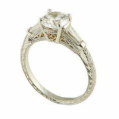 Bezel Set Emerald Diamond Engagement Ring, Low Profile Engagement Rings