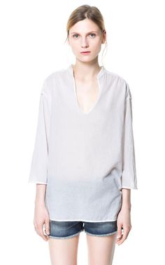 BLOUSE WITH EMBROIDERED YOKE - Tops - Woman | ZARA United States