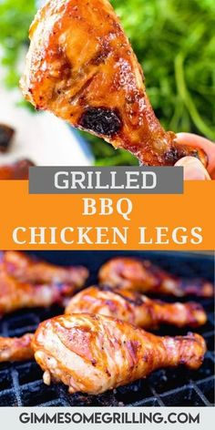 Delicious BBQ Chicken Legs on the grill are the perfect main dish for your cookouts, barbecues and backyard parties. They are easy, flavorful and inexpensive. Simply mix together an easy BBQ Marinade, marinade them and then grill them up. This easy recipe will be an instant hit and a favorite you'll come back to these sweet, sticky chicken drumsticks all summer long. #chicken #legs via @gimmesomegrilling