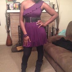 """""""Do what you like"""" purple one shouldered dress... Purple one shoulder dress, that you will love !!Dress is flawless and ready to wear. I have only worn it a few times but I'm ready to pass along. Dresses"""