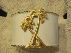 Cuff Bracelet White with Palm Trees  Pop of Color by savannahjacks, $40.00 nautical gold beach summer bride