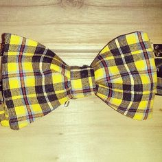 yellow plaid bowtie  mens bowtie  yellow and by LookForMeBowties