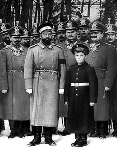 "Tsarevich Alexei Nikolaevich Romanov of Russia,with his father, Emperor Nicholas II. ""AL"""