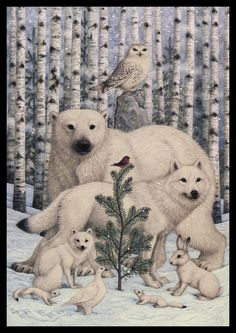 White Animals Red Bird Art Print by Lynn Bywaters. All prints are professionally printed, packaged, and shipped within 3 - 4 business days. Christmas Animals, Noel Christmas, Christmas Pictures, Christmas Greetings, Winter Christmas, Vintage Christmas, Illustration Noel, Christmas Illustration, Illustrator