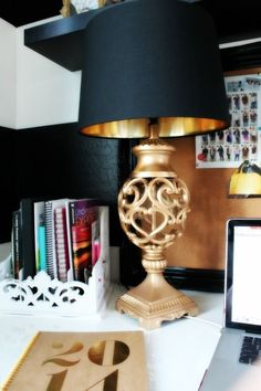 Black, white & gold bedroom nightstand with pops of color | How to ...