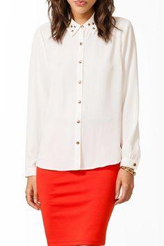 Lapel Long Sleeve Rivet Chiffon Shirt, #Wendybox