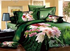 Pastoral Pink Flowers Dewy Grass Design Green 4-Piece Cotton Duvet Cover Sets on sale, Buy Retail Price Floral Bedding Sets at Beddinginn.com