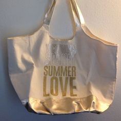 Large VS Tote Huge cream and gold small  retail markings inside Victoria's Secret Bags Totes