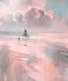 """""""Along the edge of the shore"""" watercolor on paper, 42 x 2014 © Сергей Темерев Paper: Гознак Watercolor Clouds, Easy Watercolor, Watercolor Landscape, Abstract Watercolor, Seascape Paintings, Landscape Paintings, Watercolor Paintings, Watercolours, Kunst Online"""
