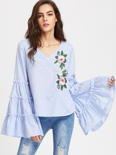 163b9495549cc SheIn offers Exaggerated Tiered Bell Sleeve Embroidered Striped Top   more  to fit your fashionable needs.