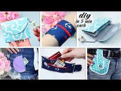 DIY MINI FREE-HANDS MONEY POUCH IDEAS 5 MIN ~ Fast Coins Pouch Bag Tutorial Handmade - YouTube