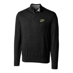 Purdue Boilermakers Cutter & Buck Big & Tall Lakemont Half-Zip Jacket - Black