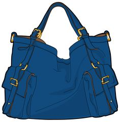 blue bag with short handles