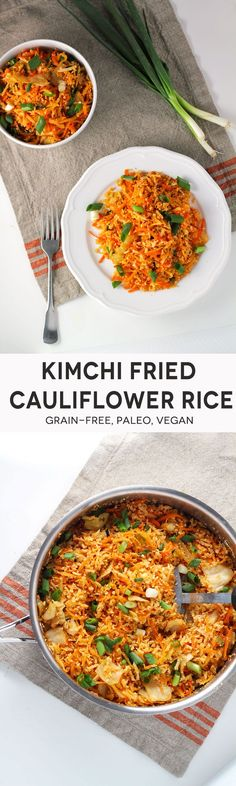 FRIED CAULIFLOWER ONLY THING I WOULD ADD IS MORE OIL LOTS MORE LOL ☺️Kimchi Fried Cauliflower Rice