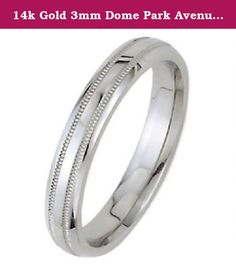 14k Gold 3mm Dome Park Avenue Wedding Band Ring Medium Weight - Size 6. This 14k Gold Park Avenue Double Milgrain Wedding Band is 3.00mm wide and approximately 1.5mm thick, and is rounded on the inside. The ring pictured has a Shiny finish. We offer a range of finishes including, Shiny, Satin, Brush, Matte and Hammered finishes. Our beautiful Park Avenue double milgrain wedding bands have a domed top and a unique double milgrain design on the surface of the ring. The bands are rounded on…