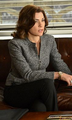 "Season 4, Episode 17 Akris Jacket ""This was gray speckled salt and pepper wool and cashmere jacket by Akris with the label's signature zipper down the front,"" explained Lawson. ""It really has incredibly nice shaping lines. I love Akris. It's really fab."""