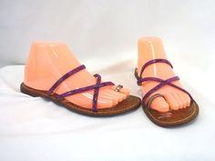 Sam Edelman Flat Sandals Gillian Brown Pink Purple Silver Reptile Print Size 7.5 #SamEdelman #Strappy