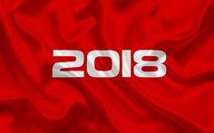 Scarica sfondi 2018 Anno, rosso 2018 concetti, Nuovo Anno, 2018 concetti, tessuto di seta