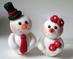 Snowman couple cake toppers!