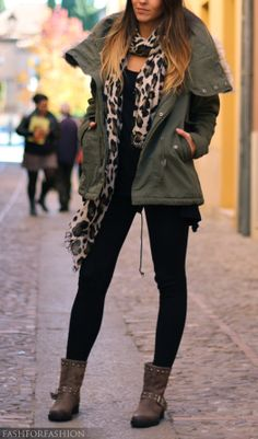 Edgy leopard scarf with military inspired jacket, combat boots, and all black
