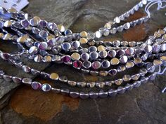 4x5mm Czech Glass Pinch Bead, Metallic Silver, 25 Beads per Strand by DragonflyBeadsStudio on Etsy