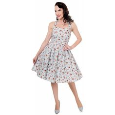 Cecilia Halterneck 50'S Style Swing Dress in Pale Blue