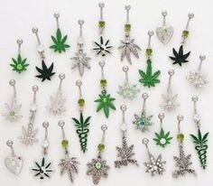 DISCOUNTED Dangling Marijuana Weed Pot Belly Button Rings - Randomly Chosen