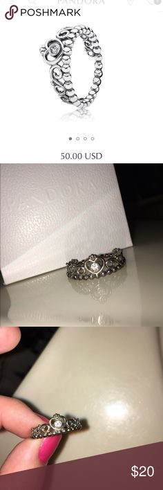 Pandora Princess Crown Ring My Princess, Clear CZ, 190880CZ • was asked to prom with this ring in March 2015 but broke up with them in May 2015, was only worn during that time and not touched since then. • offers accepted • WILL BE POLISHED BEFORE SENT • 💍😇 Pandora Jewelry Rings