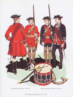 PLATES- CMH: SYW- Britain: British; The Virginia Regiment, 1754-1762. The regiment changed to blue uniforms in 1755