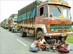 Truck drivers (one of the most unrrcognised professions) of India India halts when they stop wprk