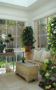wintergarten einrichtung bambus holz sitzmöbel kissen | interior, Terrassen deko