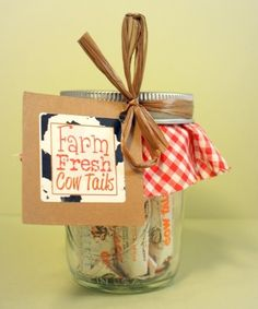 6 Farm Party Favors - Jar of Fresh Cow Tails - Farming Themed Birthday