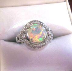 10k White Gold 1.99CT Round Faceted Ethiopian Opal & .34 TCW Diamond Ring in Gemstone | eBay