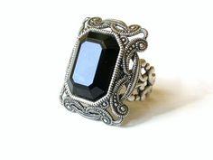 Gothic Jewelry Gothic Ring Jet Black Swarovski Filigree Ring by LeBoudoirNoir, Pagan Jewelry, Gothic Jewelry, Vintage Jewelry, Swarovski Crystal Rings, Crystal Jewelry, Noir Jewelry, Women's Jewelry, Silver Jewellery, Luxury Jewelry