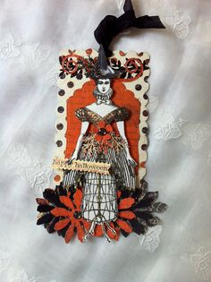 HalloweenWitch Paper Doll Articulated Mixed Media by ParisPluie