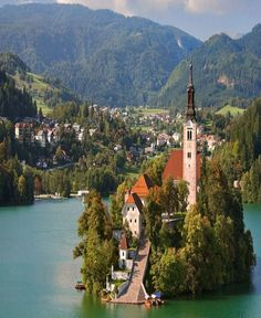 Small Alpine town in northwestern Slovenia rings the shore of Lake Bled