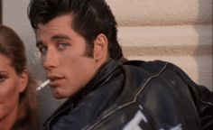 And yes, I wanted to be a T-Bird. John Travolta as Danny Zuko in Grease. Danny Zuko, Grease 1978, Grease Movie, Danny Grease, Olivia Newton John, Travolta Gif, Grease John Travolta, John Travolta Pulp Fiction, Film Musical