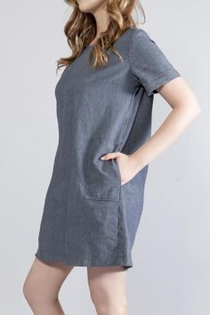 Trending, Cute, Sexy Denim/Stripe Pinstripe Patch Pocket Dress Yarn dyed pinstripe Long patch pockets Short sleeves Concealed back zipper Unlined