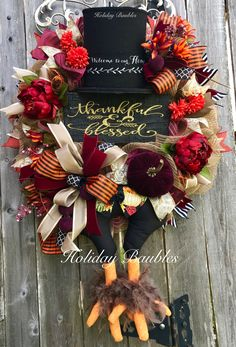 Thankful & Blessed🍂 by Holiday Baubles Thanksgiving Tree, Thanksgiving Decorations, Seasonal Decor, Paper Mesh, Falling Skies, Deco Wreaths, Wreath Supplies, Thankful And Blessed, Trendy Tree