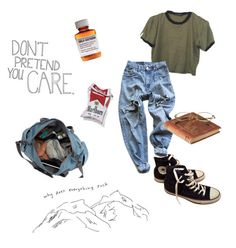 """""""did you take your meds today?"""" by xcchelseaax on Polyvore featuring Levi's, Børn, Love Quotes Scarves and Converse"""