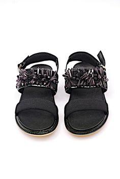 Black Patent Ex Condition Fun Crystals Sandals Size EU 37 (Approx. US 7)  Narrow (Aa 26eccff76e7