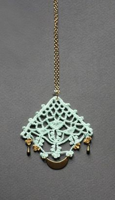 Long boho necklace mint green