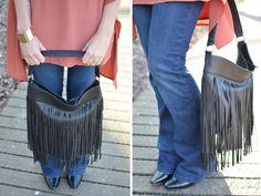 fringed leather handbag black