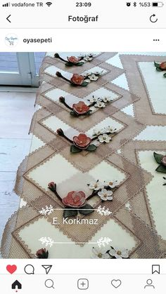 This post was discovered by Ka Embroidery Sampler, Burlap Curtains, Chic Shop, Crochet Diagram, Crochet Art, Sisal, Rosettes, Diy And Crafts, Christmas Crafts